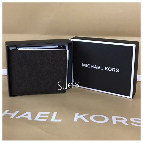 d5ec73a8fda0 Michael Kors Bags | Nwt Mk Mens Bifold With Passcase Wallet Brown ...